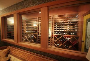 Craftsman Wine Cellar with French doors, Crown molding, Wall sconce, interior wallpaper