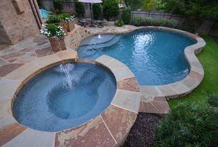 Traditional Swimming Pool with exterior stone floors, Pool with hot tub, Pathway, Fence, Fountain