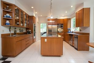 Eclectic Kitchen with High ceiling, Formica counters, European Cabinets, Undermount sink, Kitchen island, Galley, Flush
