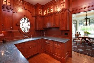Craftsman Kitchen with Complex granite counters, specialty window, Glass panel, Standard height, full backsplash, U-shaped