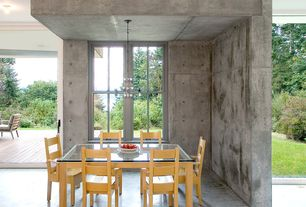 Contemporary Dining Room with Chandelier, Concrete floors, Urbangreen sonoma side chair