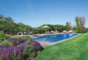 Traditional Swimming Pool with Pool with hot tub, Fence