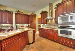 Traditional Kitchen with Flush, Slate Tile, wall oven, Drop-in sink, Multiple Sinks, Wall Hood, Complex granite counters