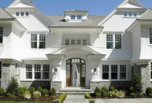 Traditional Exterior of Home with Pathway, Transom window, Partial stone exterior, double-hung window, Paint 1