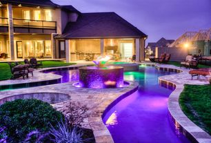 Swimming Pool with Glass panel door, Fire pit, exterior stone floors, Pathway, Outdoor kitchen, Pool with hot tub, Fence