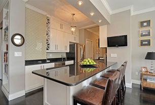 Contemporary Kitchen with flush light, Oak - Midnight 5 in. Engineered Hardwood Wide Plank, Soapstone counters, High ceiling