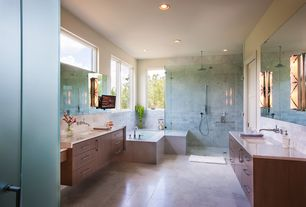 Contemporary Master Bathroom with Hudson Valley Darlington Polished Nickel Four-Light ADA Bath Light, Complex Marble Tile