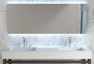 Modern Master Bathroom with Undermount sink, Wall Tiles, One piece-dual sink unit, Standard height, Double sink