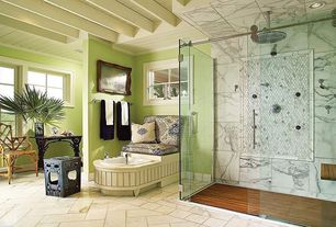 Cottage Master Bathroom with Greecian white 12 in. x 24 in. polished marble floor and wall tile, Paint 1, drop in bathtub