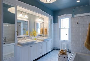 Traditional Master Bathroom with Complex Marble, Flush, Complex marble counters, Flat panel cabinets, flush light