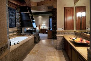 Rustic Master Bathroom with Wood counters, Exposed beam, Raised panel, Ceramic Tile, Flush, Vessel sink, Master bathroom