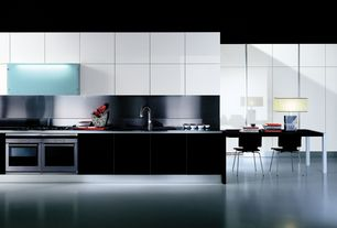 Modern Kitchen with One-wall, European Cabinets, Soapstone, Undermount sink, electric cooktop, Standard height, Flush