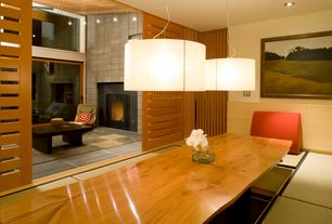 Contemporary Dining Room with Pendant light, Harvest Drum Pendant, 1619 live-edge / wood base dining table, specialty door