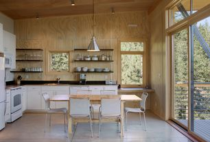 Contemporary Kitchen with Formica counters, Transom window, Breakfast nook, Flush, French doors, L-shaped, flush light