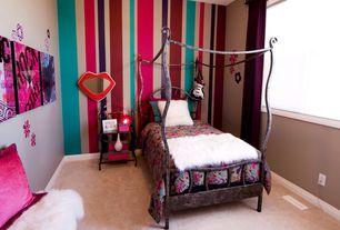 Eclectic Kids Bedroom with no bedroom feature, picture window, Standard height, Carpet, Mural