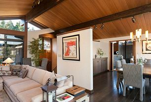 Craftsman Great Room with Oak - Blackened Brown 5 in. Solid Hardwood Wide Plank, Exposed beam, Bamboo floors, Pendant light