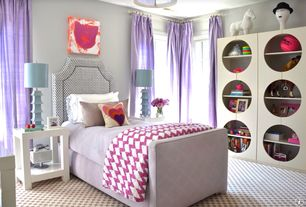 Eclectic Kids Bedroom with flush light, Worlds Away Pagoda Table Lamp, Built-in bookshelf, Carpet, West Elm Parsons End Table