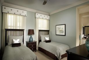 Modern Guest Bedroom with double-hung window, Carpet, flush light, Standard height, Crown molding, Ceiling fan