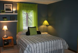 Contemporary Guest Bedroom with picture window, Standard height, Paint, Carpet