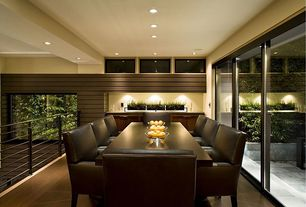 Modern Dining Room with can lights, Standard height, Hardwood floors, picture window
