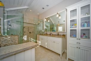 Cottage Master Bathroom with Inset cabinets, frameless showerdoor, Polished mixed pebble tile, Double sink, Glass panel