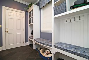 Traditional Mud Room with Standard height, stone tile floors, soapstone tile floors, six panel door, Built-in bookshelf