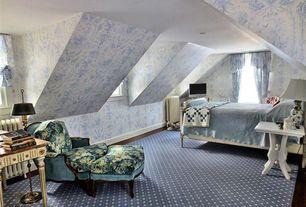 Country Guest Bedroom with interior wallpaper, Skylight, Hardwood floors