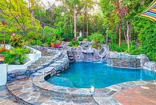 Tropical Swimming Pool with Other Pool Type, Fence, Raised beds, Pathway, exterior stone floors