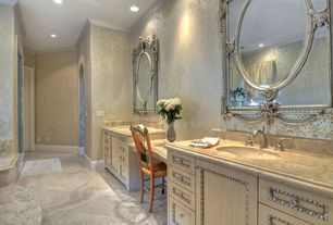 Traditional Master Bathroom with partial backsplash, Complex marble counters, Crown molding, stone tile floors, Flush
