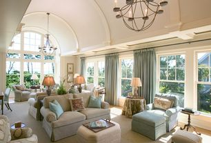 Traditional Living Room with Carpet, Chandelier, Cathedral ceiling