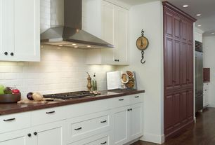 Traditional Kitchen with can lights, One-wall, Somertile - victorian subway 1x2-in white porcelain mosaic tile, Wall Hood