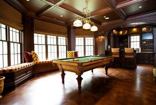 Craftsman Game Room with Standard height, Wall sconce, Box ceiling, Hardwood floors, can lights, Window seat