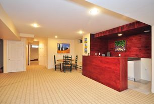 Craftsman Bar with can lights, limestone tile floors, Built-in bookshelf, Standard height, stone tile floors