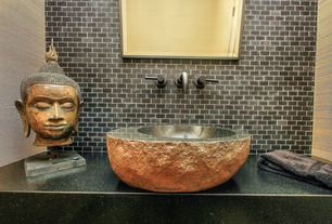 Eclectic Powder Room with Vessel sink, Powder room, Standard height, Stone Tile, Simple granite counters, full backsplash