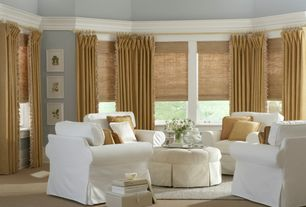 Traditional Living Room with Carpet, Crown molding, High ceiling, Casement