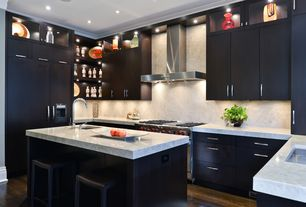 Modern Kitchen with Complex marble counters, MS International Arabescus White Marble Countertop, Undermount sink, Flush