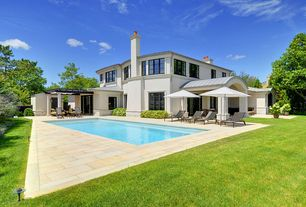 Contemporary Swimming Pool with Trellis, exterior tile floors, Lap pool