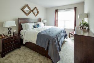Modern Master Bedroom with Carpet, Built-in bookshelf