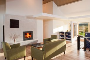 Contemporary Great Room with Cement fireplace, Fireplace, picture window, Built-in bookshelf, Hardwood floors, can lights