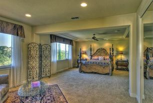 """Traditional Master Bedroom with Anthony California Traditional 30"""" H Table Lamp with Bell Shade, Oriental pattern area rug"""