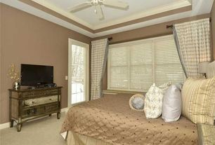 Traditional Guest Bedroom with Crown molding, Carpet, French doors, Ceiling fan