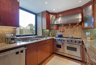 Modern Kitchen with double oven range, Standard height, Simple Granite, Flush, can lights, U-shaped, stone tile floors
