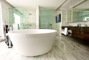 Modern Master Bathroom with Master bathroom, full backsplash, frameless showerdoor, picture window, Inset cabinets, Shower