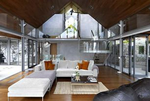 Contemporary Living Room with Loft, Ceiling fan, Laminate floors