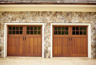 Country Garage with Natural stone exterior wall, High ceiling