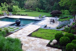 Contemporary Swimming Pool with Fence, Bird bath, Pool with hot tub, Pathway
