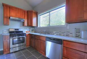Contemporary Kitchen with Undermount sink, Inset cabinets, Flat panel cabinets, Ms international bianco catalina granite