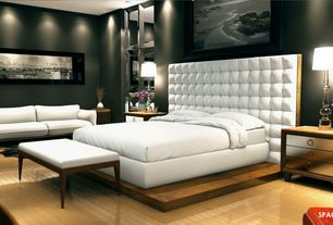 Contemporary Master Bedroom with Mirror panel, Laminate floors, Built in tufted head board, Platform bed, Built-in bookshelf