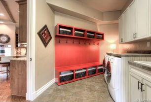 Laundry Room with Daltile fidenza travertine tile in cafe, Built-in bookshelf, travertine tile floors