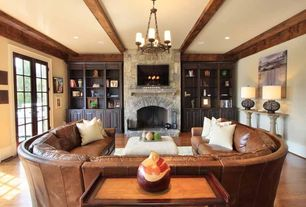 Craftsman Living Room with Fireplace, stone fireplace, Built-in bookshelf, Chandelier, A94 contemporary sectional sofa
